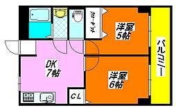 サンライフ・小阪604号室[6階]の間取り