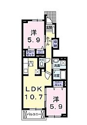 神奈川県藤沢市大庭の賃貸アパートの間取り