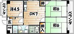 シャトレ中井[4階]の間取り