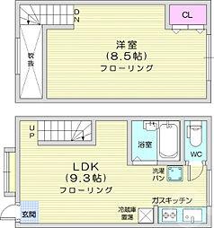 JR仙山線 北山駅 3.8kmの賃貸テラスハウス 1階1LDKの間取り