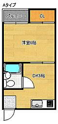 大阪府大阪市住吉区山之内2丁目の賃貸マンションの間取り