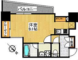 福岡市地下鉄空港線 天神駅 徒歩5分の賃貸マンション 8階1Kの間取り
