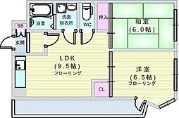 Osaka Metro千日前線 西長堀駅 徒歩6分の賃貸マンション 5階2LDKの間取り