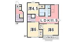 兵庫県高砂市伊保崎4丁目の賃貸アパートの間取り