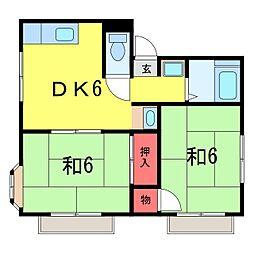 千葉県佐倉市王子台5丁目の賃貸アパートの間取り