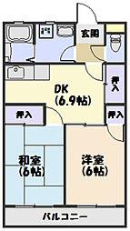 JR紀勢本線 相可駅 徒歩5分の賃貸アパート 1階2DKの間取り