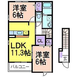 栃木県鹿沼市茂呂の賃貸アパートの間取り