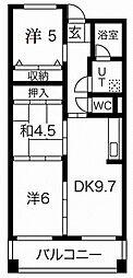 摩耶コート壱番館 8階3LDKの間取り