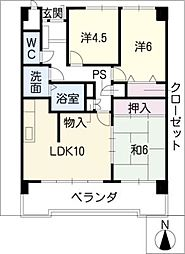 ライオンズマンション岐阜702号[7階]の間取り