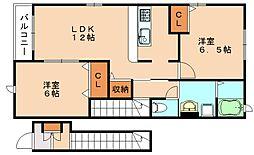 ヌーベル・シンワE[2階]の間取り