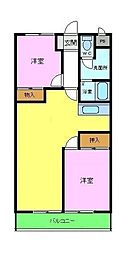 パークレジデンス北野田 1階2LDKの間取り