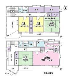 [一戸建] 神奈川県横浜市港北区大曽根2丁目 の賃貸【/】の間取り