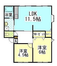 東京都町田市西成瀬3丁目の賃貸アパートの間取り