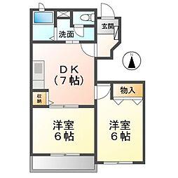 愛知県北名古屋市沖村天花寺の賃貸アパートの間取り