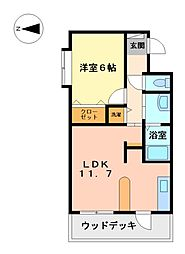 静岡県三島市新谷の賃貸マンションの間取り