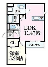 広島電鉄6系統 舟入川口町駅 徒歩4分の賃貸アパート 2階1LDKの間取り