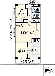 ロイヤルエステートIII[5階]の間取り