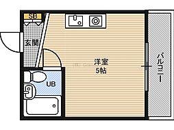 野江2番館 2階ワンルームの間取り