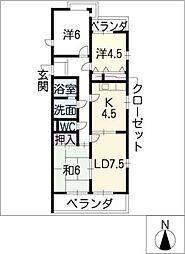 サンハイツ小幡[4階]の間取り