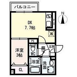 名古屋市営名城線 名城公園駅 徒歩8分の賃貸アパート 2階1DKの間取り