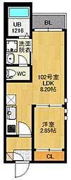 仙台市地下鉄東西線 卸町駅 徒歩10分の賃貸アパート 1階1LDKの間取り
