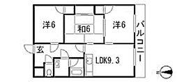 広島県広島市安佐南区西原3丁目の賃貸マンションの間取り