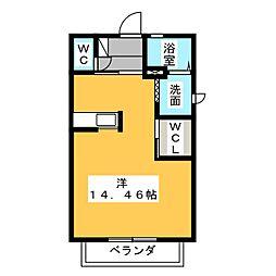 アバンサールW[2階]の間取り