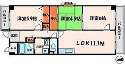 クレールナカミチ 5階3LDKの間取り