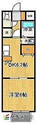 福岡県福岡市早良区田隈3丁目の賃貸アパートの間取り
