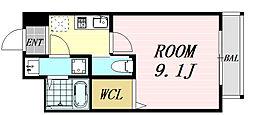モダンアパートメント江坂町 6階1Kの間取り