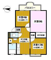 神奈川県横浜市鶴見区東寺尾6丁目の賃貸アパートの間取り