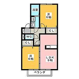 フリージアM[2階]の間取り