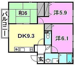 フォブール南斎院A棟・B棟[B101 号室号室]の間取り
