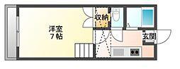 JR赤穂線 西川原駅 徒歩9分の賃貸マンション 1階1Kの間取り