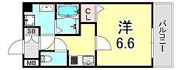 S-RESIDENCE新大阪Ridente 8階1Kの間取り
