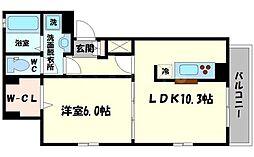 京阪本線 萱島駅 徒歩19分の賃貸アパート 1階1LDKの間取り