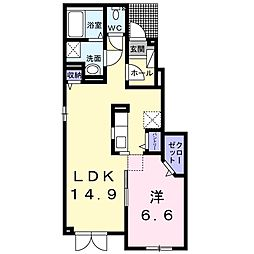 北海道札幌市手稲区新発寒四条6丁目の賃貸アパートの間取り