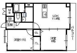 大阪府大阪市生野区勝山南4丁目の賃貸マンションの間取り