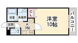 メイプル南花屋敷[201号室]の間取り