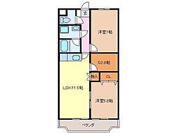 静岡県富士宮市大岩の賃貸マンションの間取り