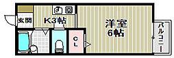 アメニティ大美野B[1階]の間取り