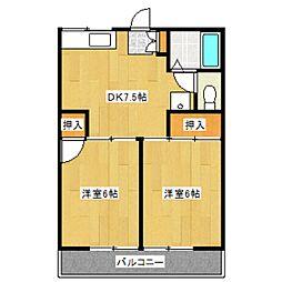 東京都杉並区松ノ木1丁目の賃貸アパートの間取り