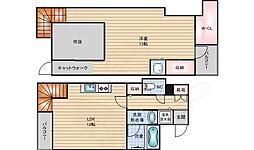 阪神なんば線 桜川駅 徒歩4分の賃貸マンション 3階1LDKの間取り