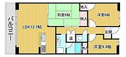 滋賀県大津市北大路3丁目の賃貸マンションの間取り