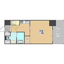 ワールドアイ大阪ドームシティ 12階1Kの間取り