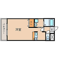 阪神本線 武庫川駅 徒歩2分の賃貸マンション 2階1Kの間取り