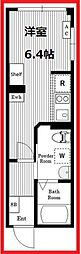 エアータワーニッポリB棟 4階ワンルームの間取り