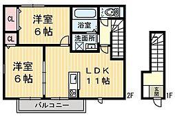 グランドルーB[2階]の間取り