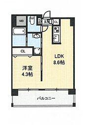 地下鉄今里駅 徒歩1分 新築マンション[9階]の間取り