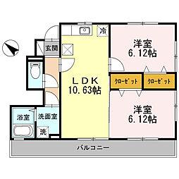 旭区本宿町 ロンドン弐番館101号室[1階]の間取り